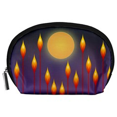 Night Moon Flora Background Accessory Pouch (Large)
