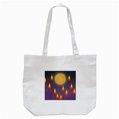 Night Moon Flora Background Tote Bag (White)