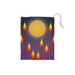 Night Moon Flora Background Drawstring Pouch (Small)