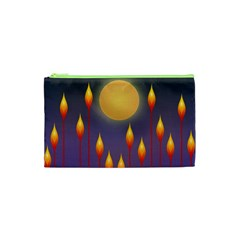 Night Moon Flora Background Cosmetic Bag (XS)
