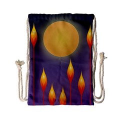 Night Moon Flora Background Drawstring Bag (Small)