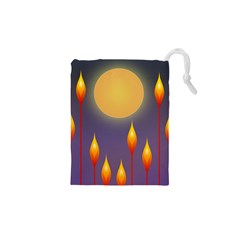 Night Moon Flora Background Drawstring Pouch (XS)