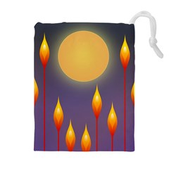 Night Moon Flora Background Drawstring Pouch (XL)
