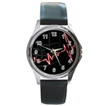 Music Wallpaper Heartbeat Melody Round Metal Watch Front