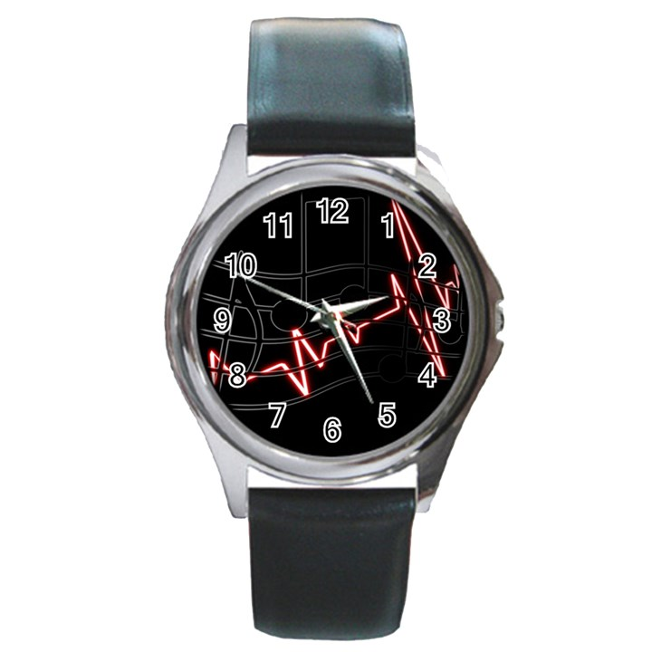 Music Wallpaper Heartbeat Melody Round Metal Watch
