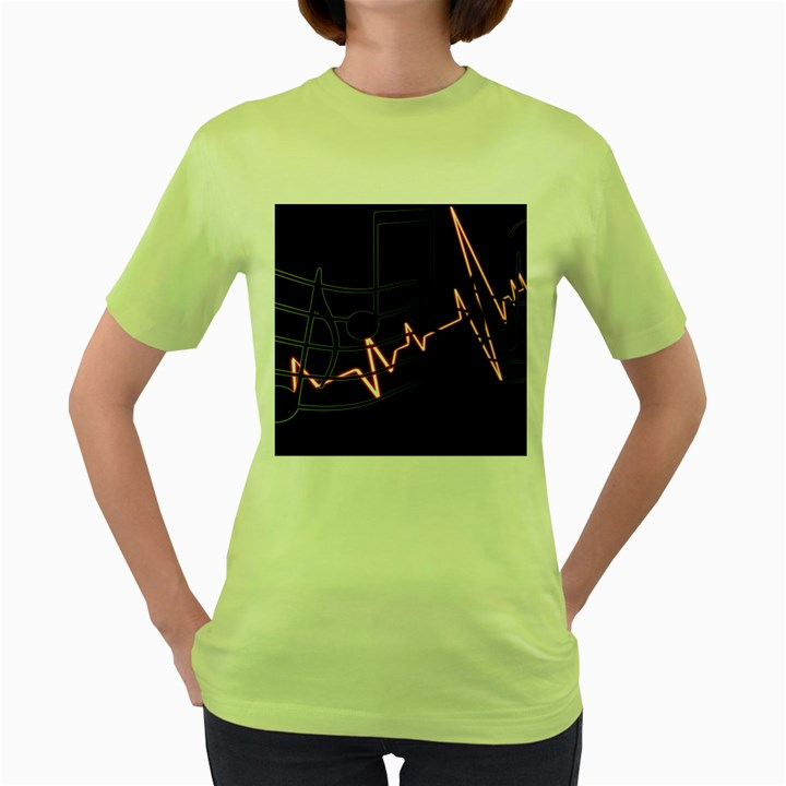 Music Wallpaper Heartbeat Melody Women s Green T-Shirt