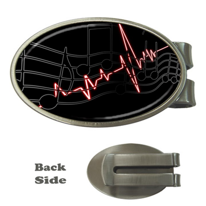 Music Wallpaper Heartbeat Melody Money Clips (Oval)