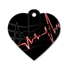 Music Wallpaper Heartbeat Melody Dog Tag Heart (two Sides) by HermanTelo