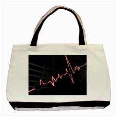 Music Wallpaper Heartbeat Melody Basic Tote Bag (two Sides) by HermanTelo