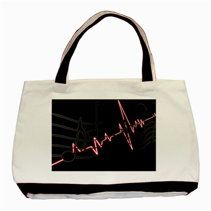 Music Wallpaper Heartbeat Melody Basic Tote Bag (Two Sides)