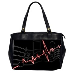 Music Wallpaper Heartbeat Melody Oversize Office Handbag (2 Sides) by HermanTelo