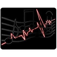 Music Wallpaper Heartbeat Melody Fleece Blanket (large)  by HermanTelo