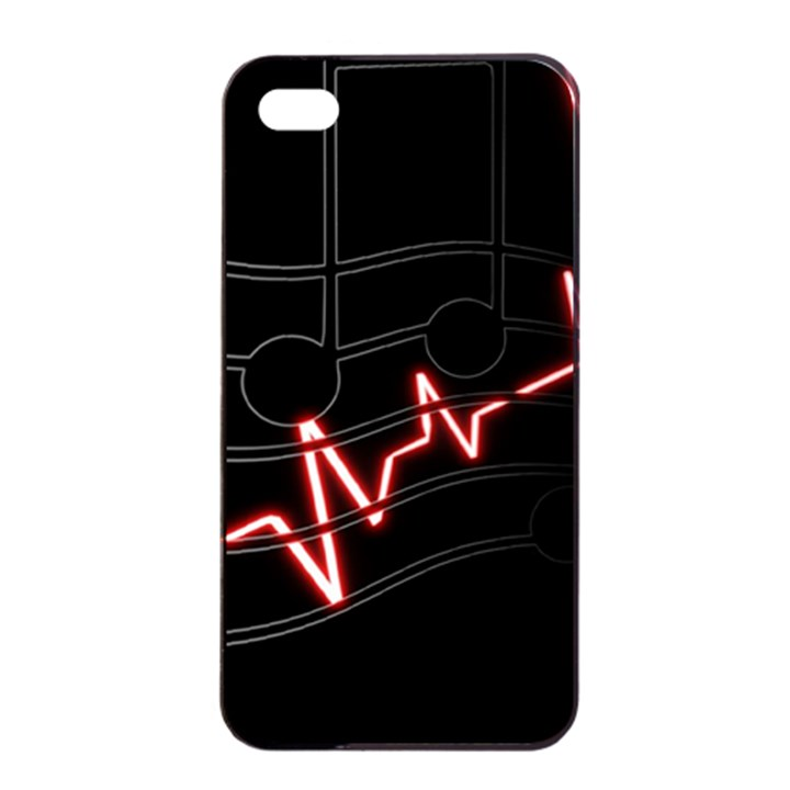 Music Wallpaper Heartbeat Melody iPhone 4/4s Seamless Case (Black)