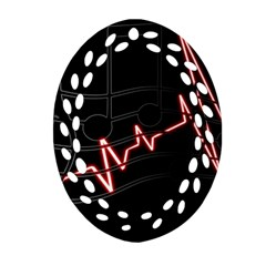 Music Wallpaper Heartbeat Melody Oval Filigree Ornament (two Sides)