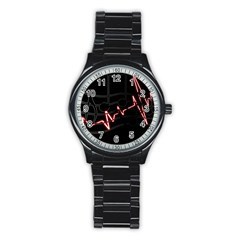 Music Wallpaper Heartbeat Melody Stainless Steel Round Watch