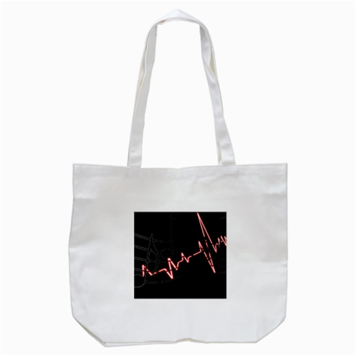 Music Wallpaper Heartbeat Melody Tote Bag (White)
