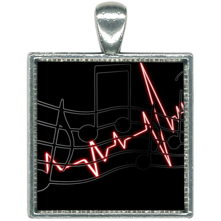 Music Wallpaper Heartbeat Melody Square Necklace