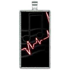 Music Wallpaper Heartbeat Melody Rectangle Necklace by HermanTelo