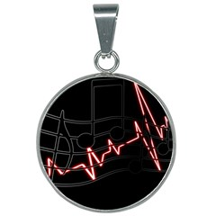 Music Wallpaper Heartbeat Melody 25mm Round Necklace