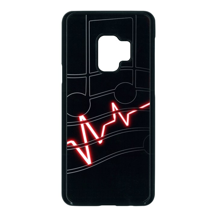 Music Wallpaper Heartbeat Melody Samsung Galaxy S9 Seamless Case(Black)