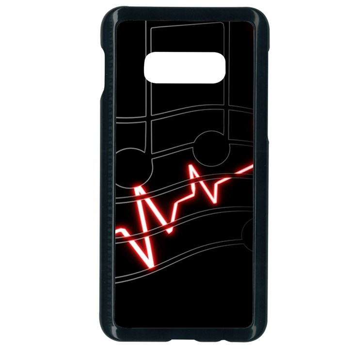 Music Wallpaper Heartbeat Melody Samsung Galaxy S10e Seamless Case (Black)