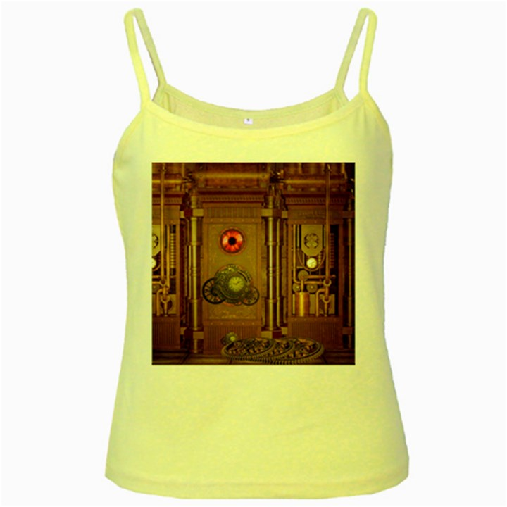 Steampunk Design Yellow Spaghetti Tank