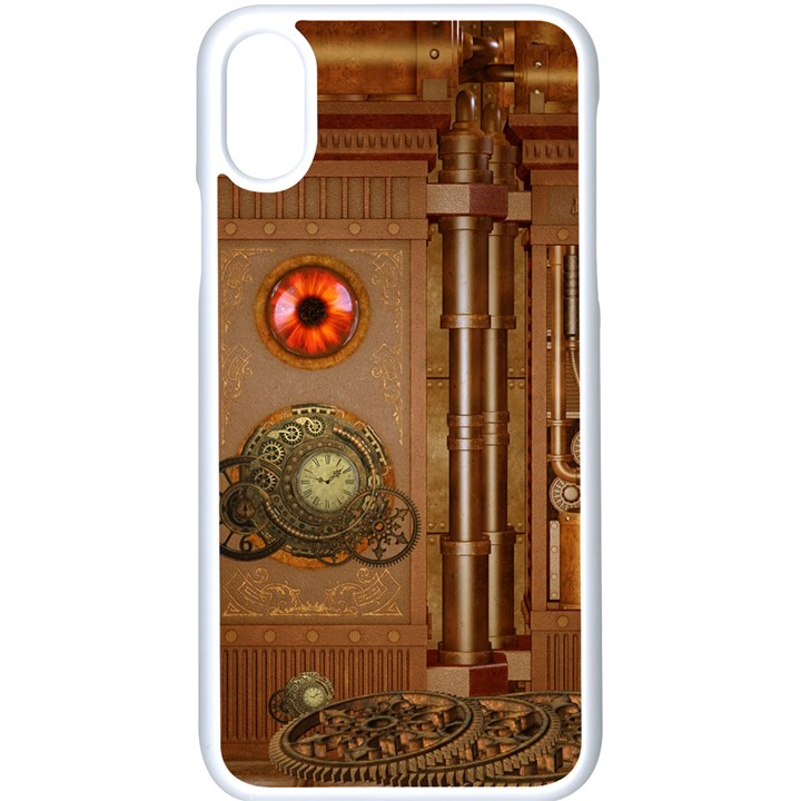 Steampunk Design iPhone XS Seamless Case (White)