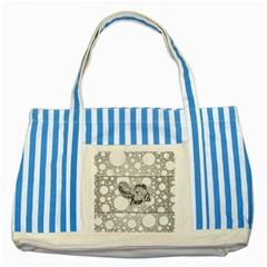 Elegant Mandala Elephant In Black And Wihte Striped Blue Tote Bag by FantasyWorld7