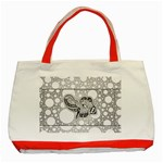 Elegant Mandala Elephant In Black And Wihte Classic Tote Bag (Red) Front