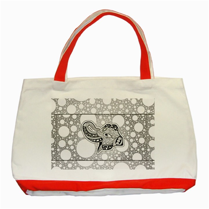 Elegant Mandala Elephant In Black And Wihte Classic Tote Bag (Red)