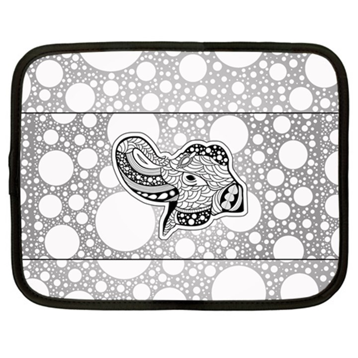 Elegant Mandala Elephant In Black And Wihte Netbook Case (Large)