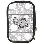 Elegant Mandala Elephant In Black And Wihte Compact Camera Leather Case Front
