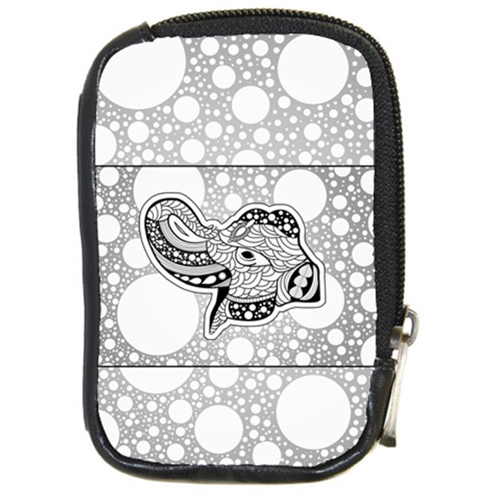 Elegant Mandala Elephant In Black And Wihte Compact Camera Leather Case