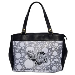 Elegant Mandala Elephant In Black And Wihte Oversize Office Handbag by FantasyWorld7