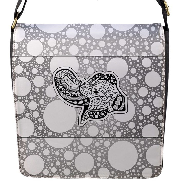 Elegant Mandala Elephant In Black And Wihte Flap Closure Messenger Bag (S)