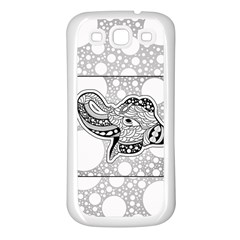 Elegant Mandala Elephant In Black And Wihte Samsung Galaxy S3 Back Case (white) by FantasyWorld7