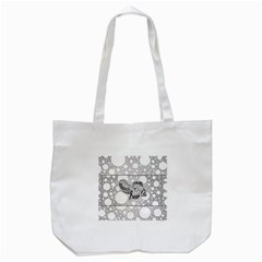 Elegant Mandala Elephant In Black And Wihte Tote Bag (white)