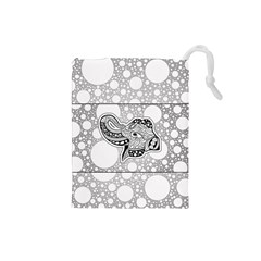 Elegant Mandala Elephant In Black And Wihte Drawstring Pouch (small)