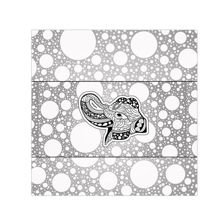 Elegant Mandala Elephant In Black And Wihte Small Satin Scarf (Square)