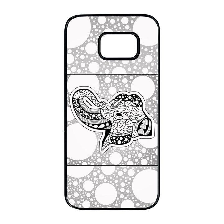 Elegant Mandala Elephant In Black And Wihte Samsung Galaxy S7 edge Black Seamless Case