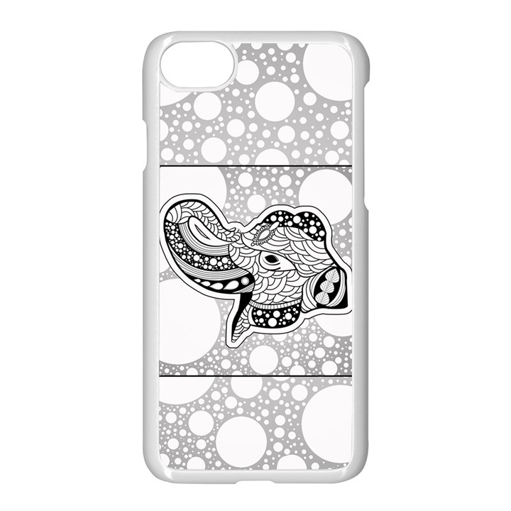 Elegant Mandala Elephant In Black And Wihte iPhone 7 Seamless Case (White)