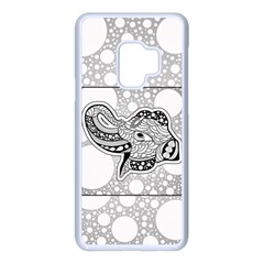 Elegant Mandala Elephant In Black And Wihte Samsung Galaxy S9 Seamless Case(white) by FantasyWorld7