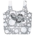 Elegant Mandala Elephant In Black And Wihte Full Print Recycle Bag (XXXL) Front