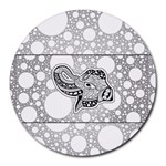 Elegant Mandala Elephant In Black And Wihte Round Mousepads Front