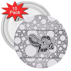 Elegant Mandala Elephant In Black And Wihte 3  Buttons (10 Pack)  by FantasyWorld7