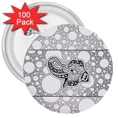 Elegant Mandala Elephant In Black And Wihte 3  Buttons (100 Pack)  by FantasyWorld7