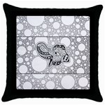 Elegant Mandala Elephant In Black And Wihte Throw Pillow Case (Black) Front