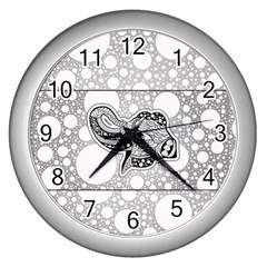 Elegant Mandala Elephant In Black And Wihte Wall Clock (silver)