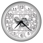 Elegant Mandala Elephant In Black And Wihte Wall Clock (Silver) Front