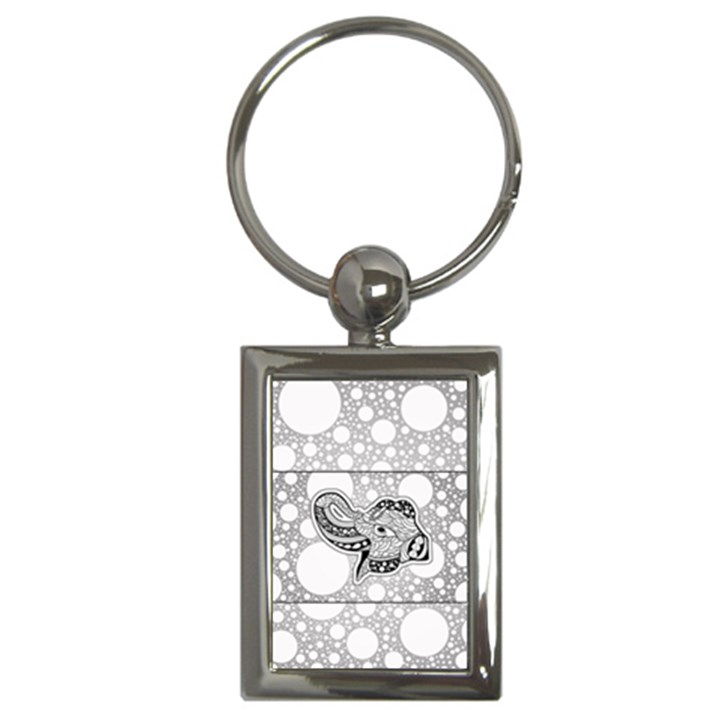 Elegant Mandala Elephant In Black And Wihte Key Chain (Rectangle)